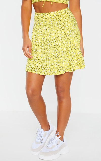 Petite Yellow Ditsy Floral Jersey Skirt