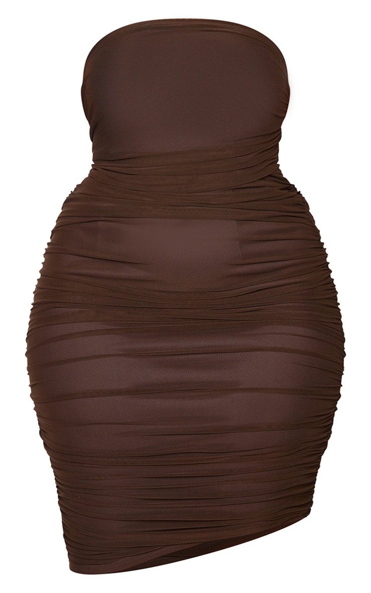 Plus Chocolate Layered Mesh Ruched Strapless Bodycon Dress 5