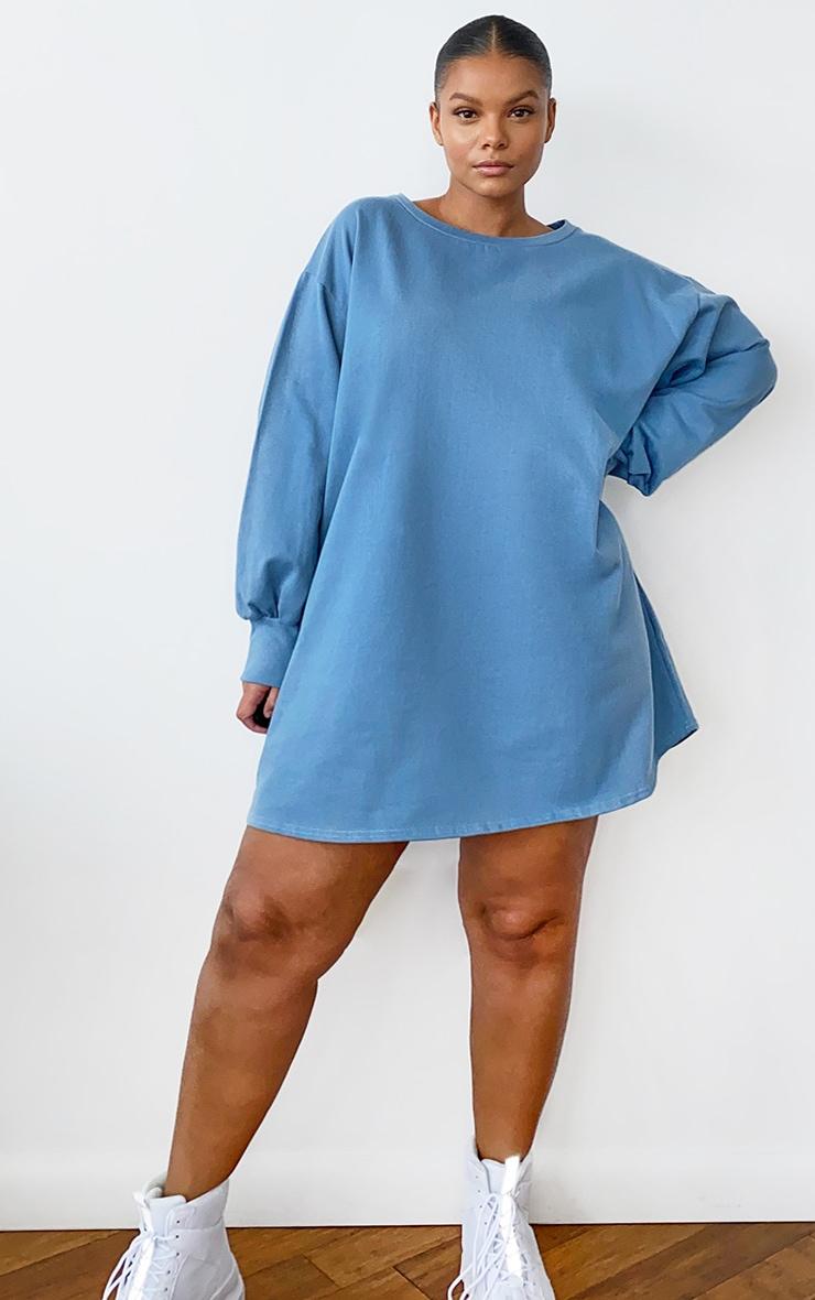 Plus Dusty Blue Oversized Sweatshirt Dress 3