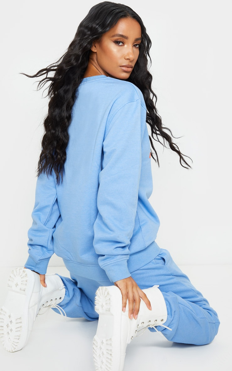 PRETTYLITTLETHING Blue Slogan Oversized Sweater 2