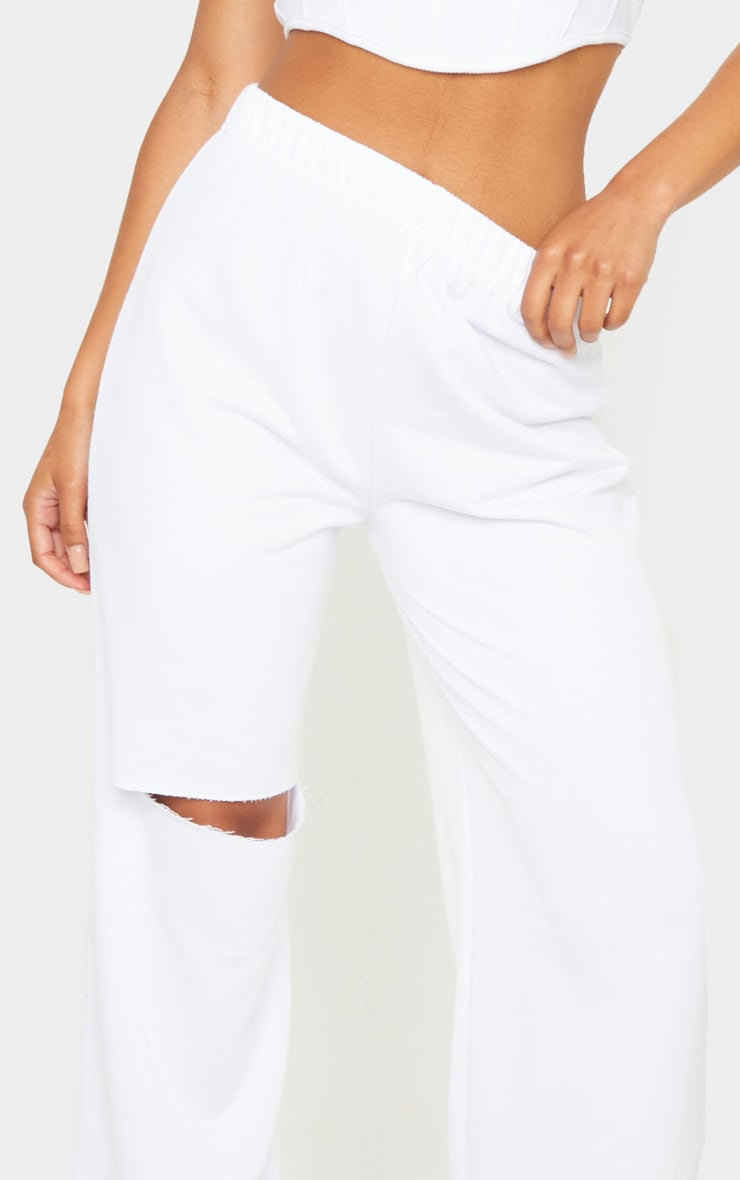 White Ripped Knee Wide Leg Joggers 4