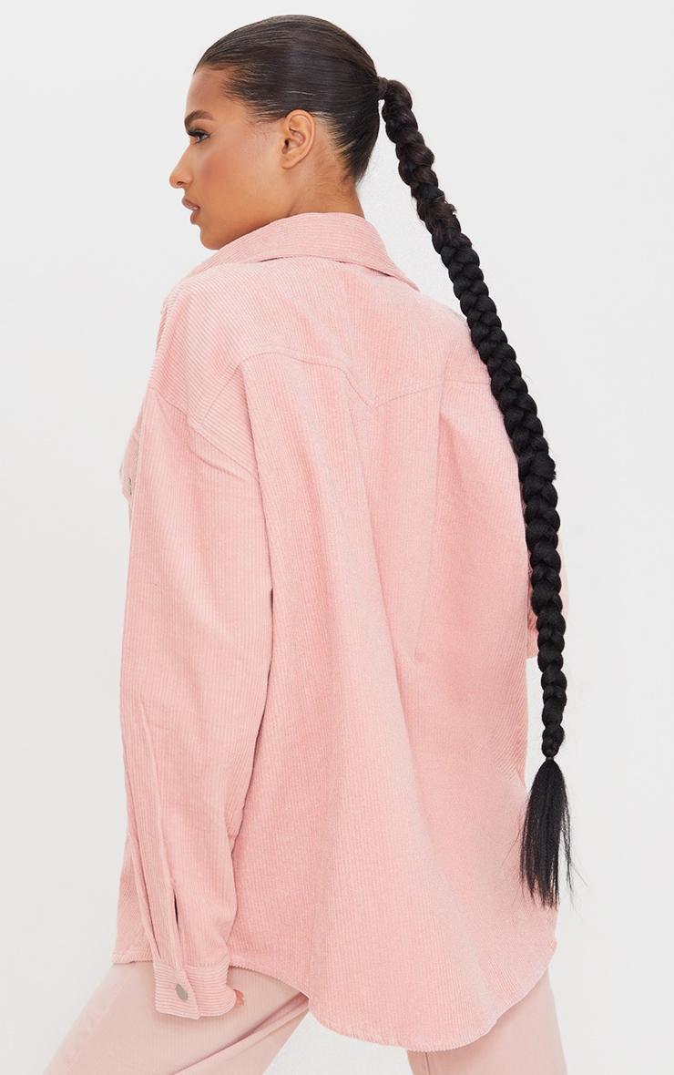 Pink Oversized Cord Shacket 2