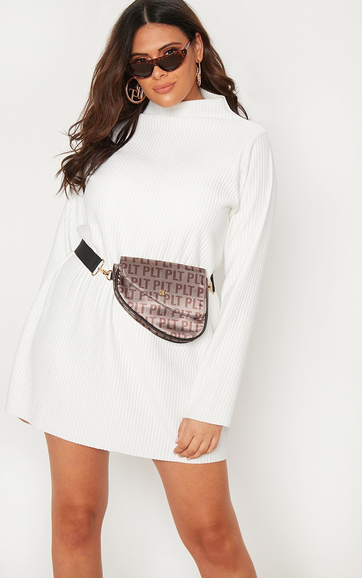 Plus Cream Jumbo Rib High Neck Sweater Dress 5