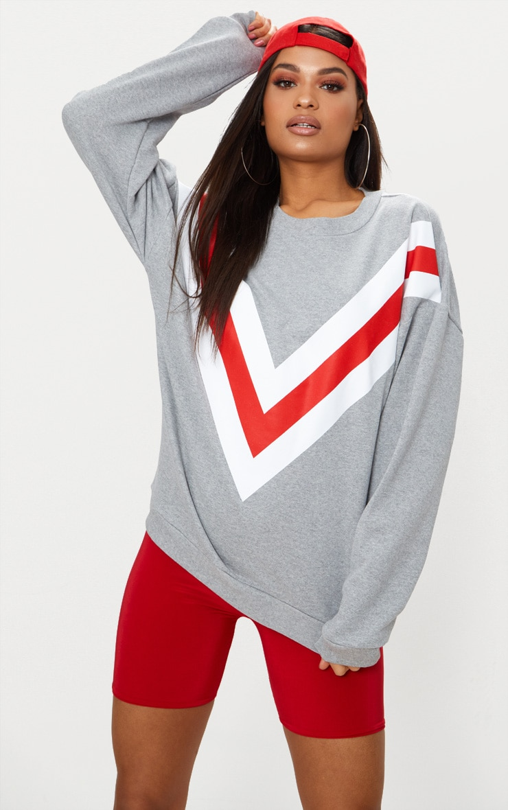 Grey Marl Chevron Oversized Sweater  1