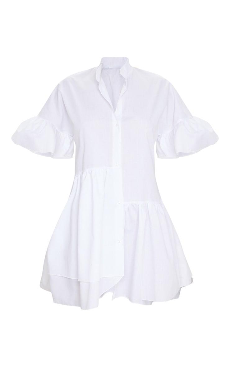 White Frill Detail Drop Hem Button Front Shirt Smock Dress 5