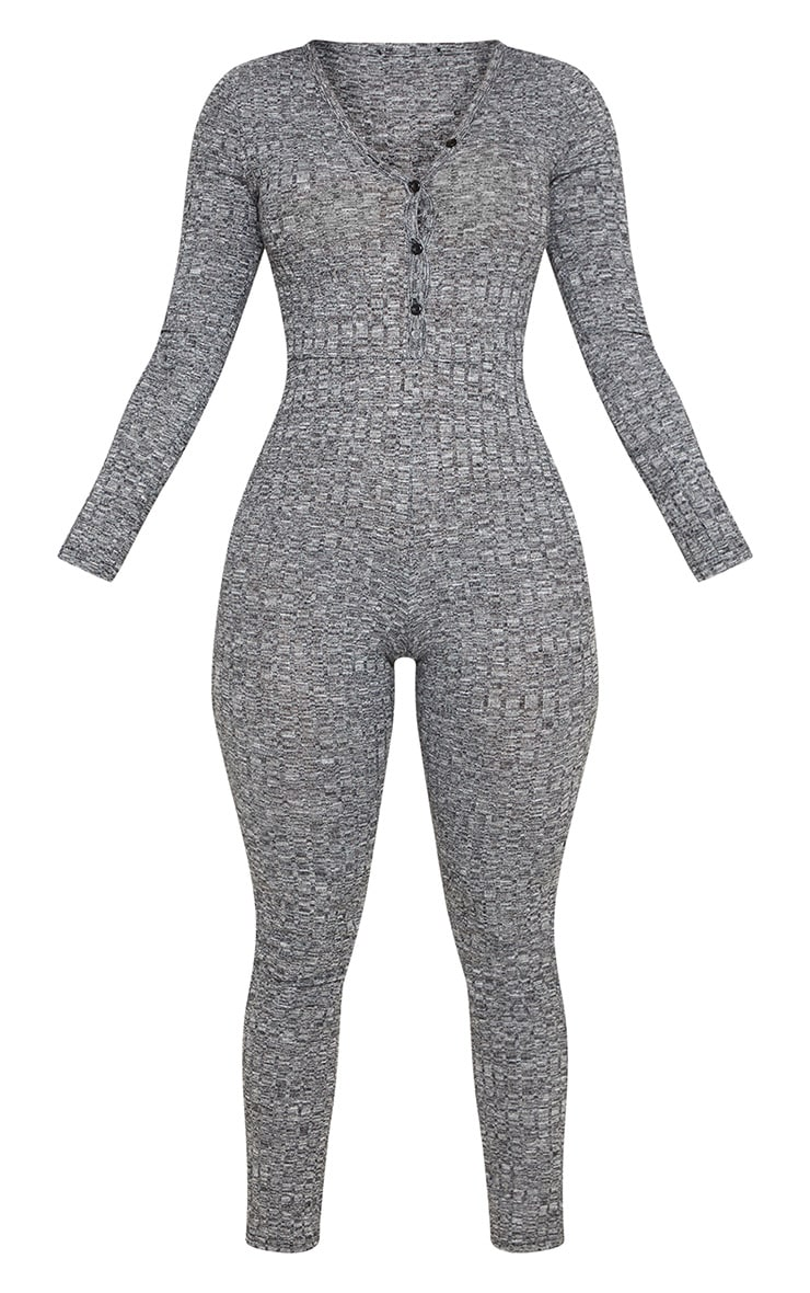 Charcoal Marl Ribbed Button Neck Onesie 3