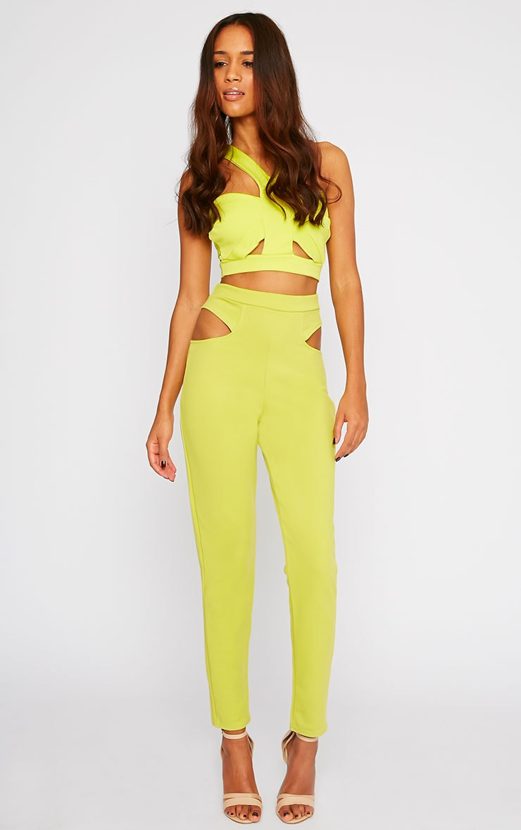 Zaylia Lime Cut Out Detail Trousers 1