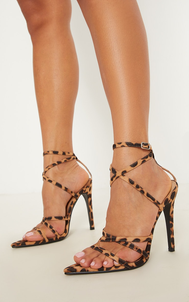 Leopard Print Point Toe Strappy Sandal 1