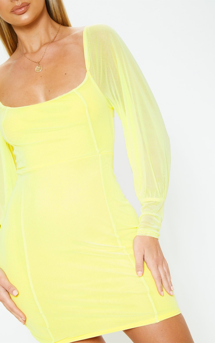 Yellow Mesh Long Sleeve Bodycon Dress 4