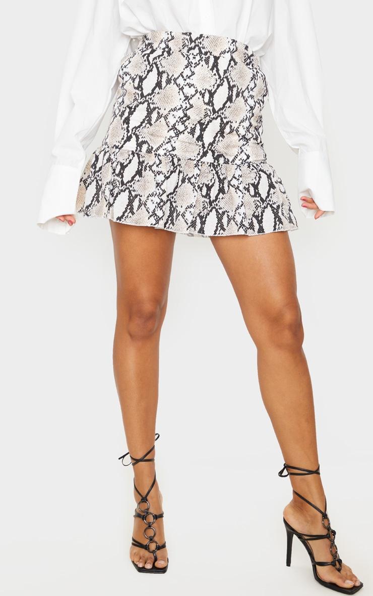 Grey Snake Print Frill Hem Skirt 2