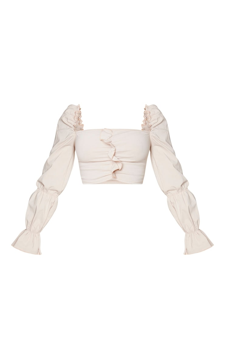 Nude Woven Stretch Front Long Frill Ruched Sleeve Crop Top 5
