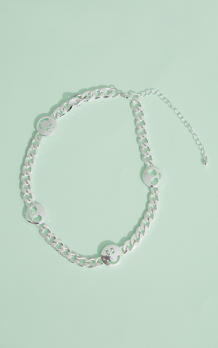 Silver Multi Smiley Face Chain Necklace 4