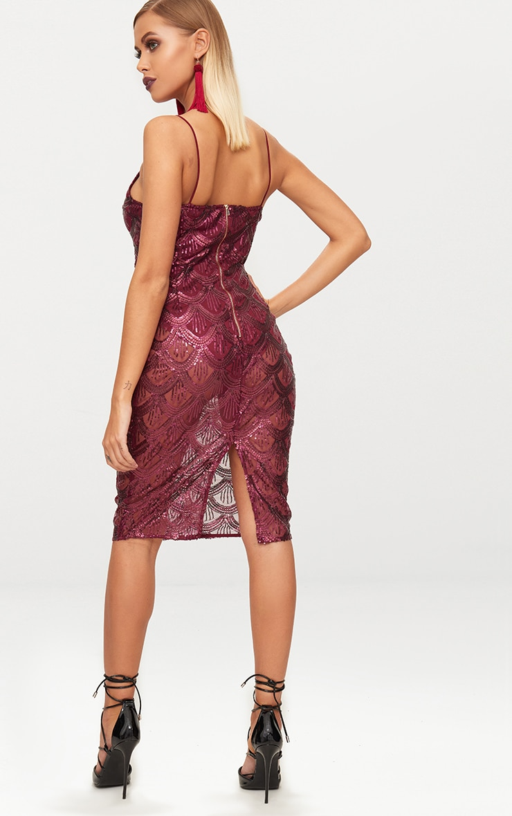 Burgundy Sequin Mesh Plunge Bodycon Midi Dress 2