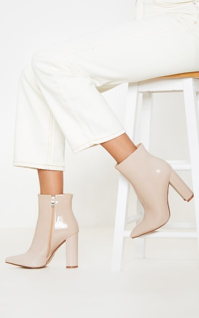 Nude High Block Heel Point Ankle Boot
