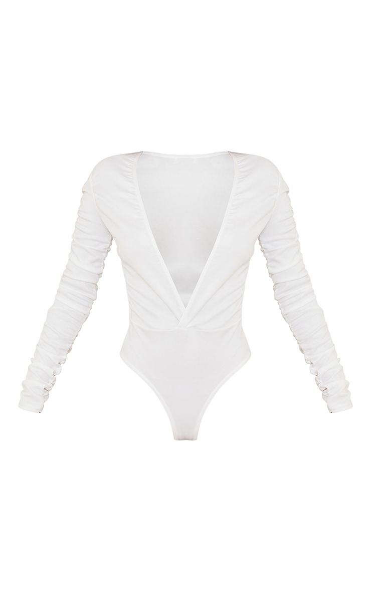 White Crepe Ruched Plunge Long Sleeve Bodysuit 5