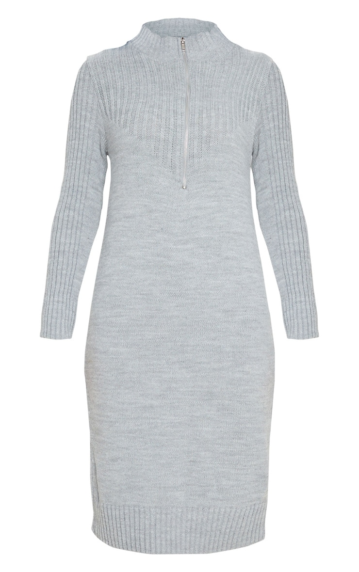 Grey Zip Front Knitted Jumper Dress 4