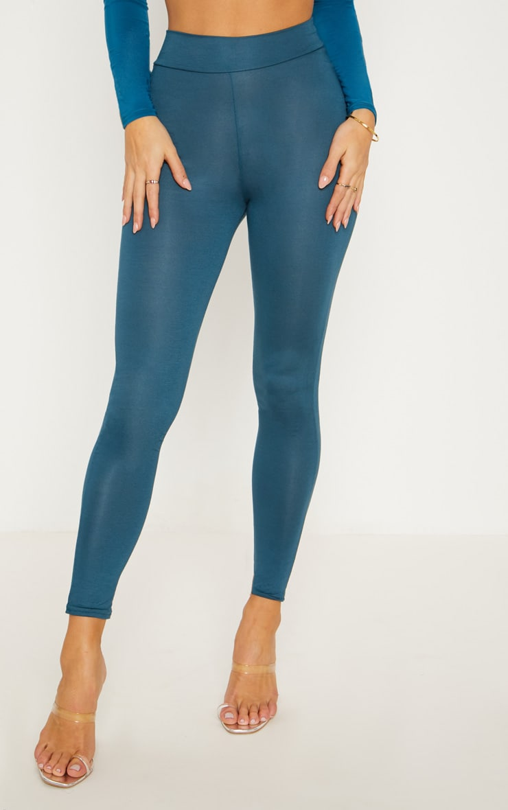 Dark Teal High Waisted Jersey Leggings 2