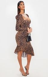 Tan Leopard Print Square Neck Frill Hem Midi Dress 4