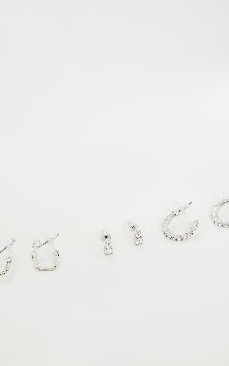 Silver Diamante Assorted Earrings 3