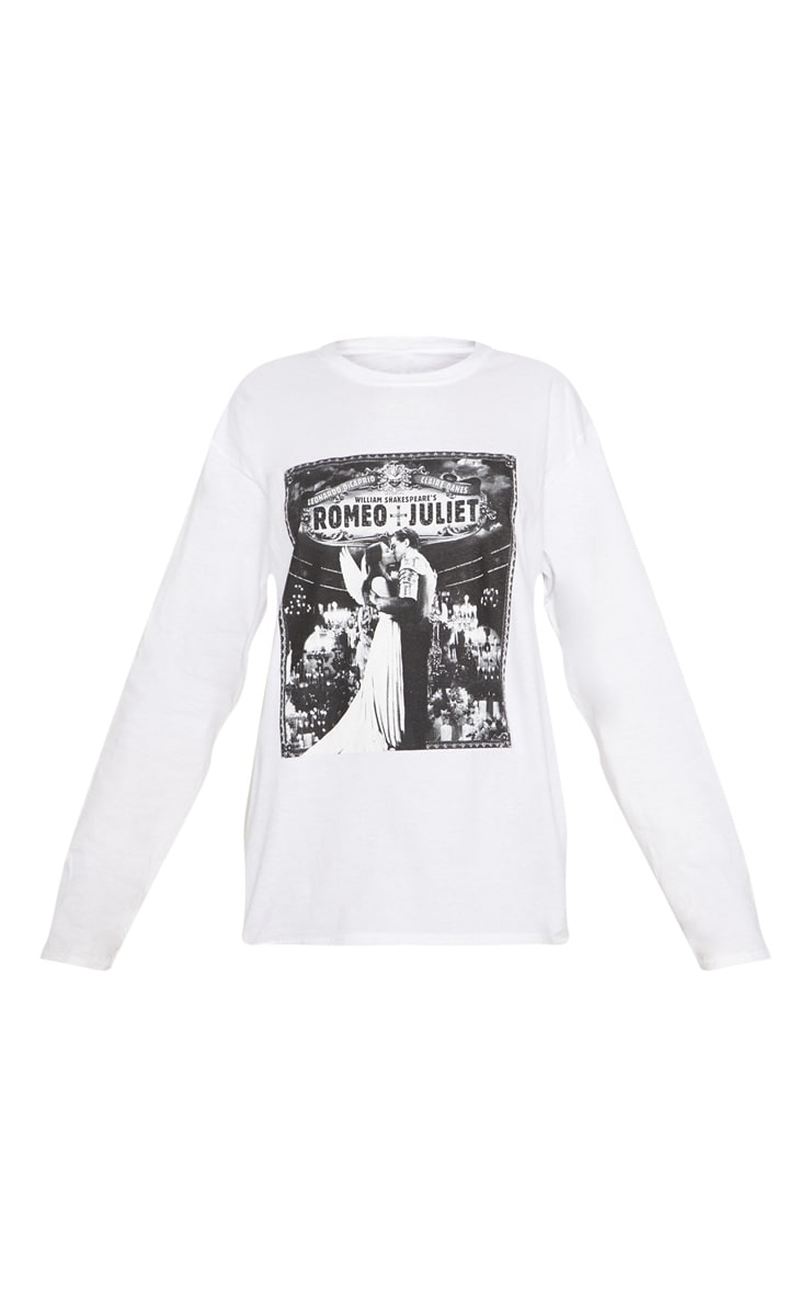 White Slogan Romeo And Juliet Long Sleeve Top 3