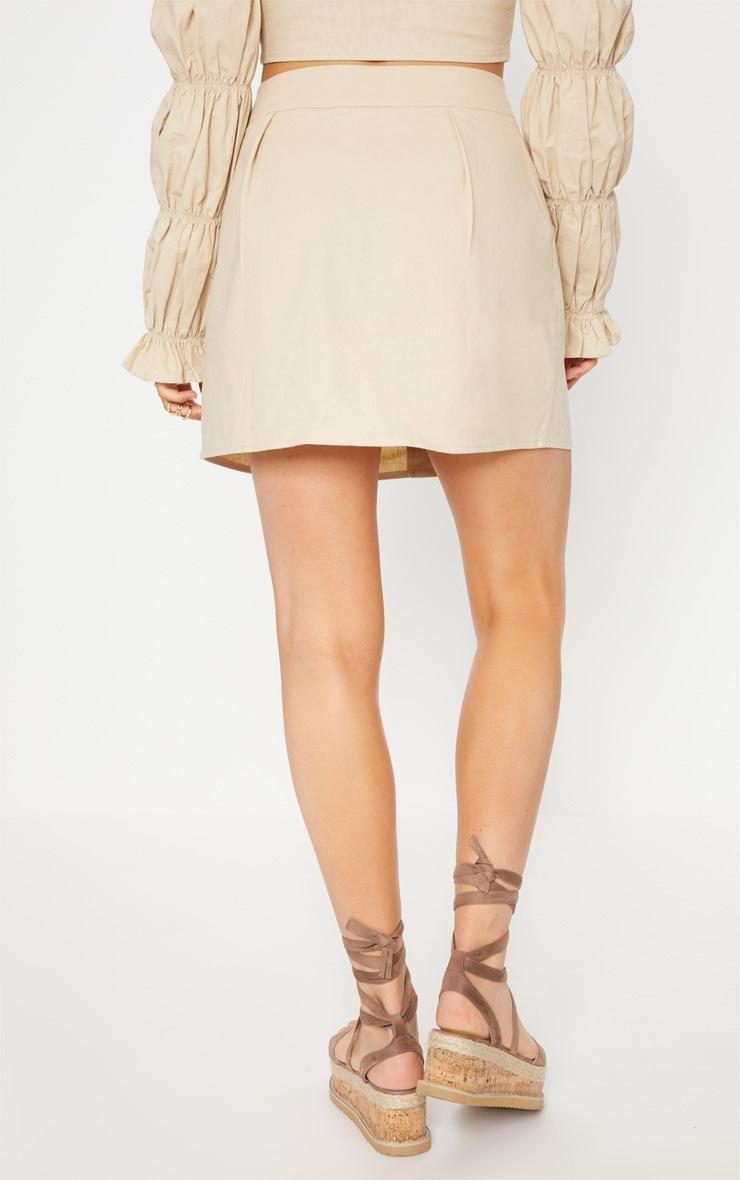 Stone Cotton Button Detail Mini Skirt 5