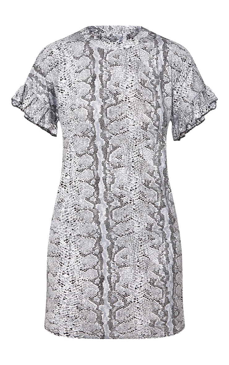 Grey Snake Frill Sleeve T Shirt Dress  3