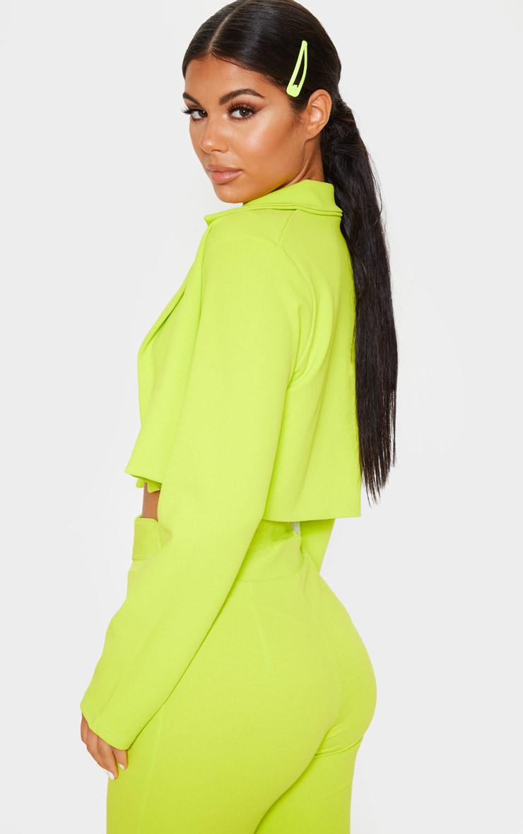 Neon Lime Cropped Suit Blazer 2