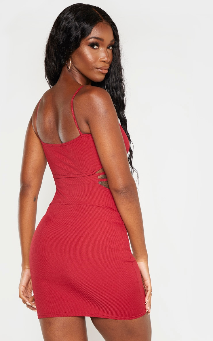 Scarlet Ribbed Strappy Cut Out Detail Bodycon Dress 2