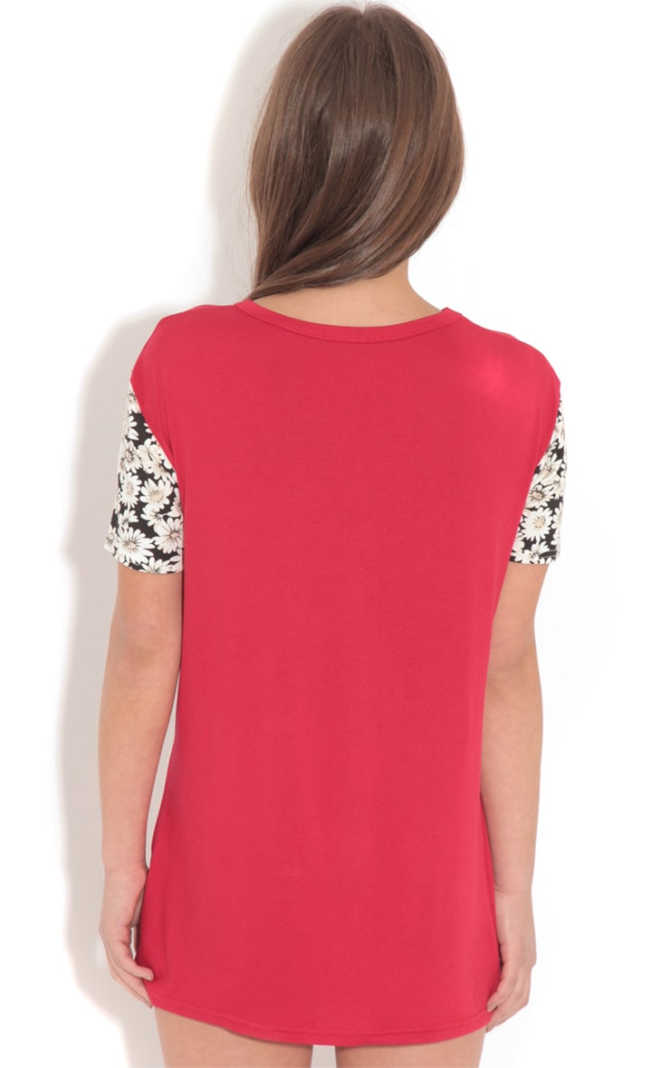 Ella Red Floral Print 'Michigan' Baseball Tee 2