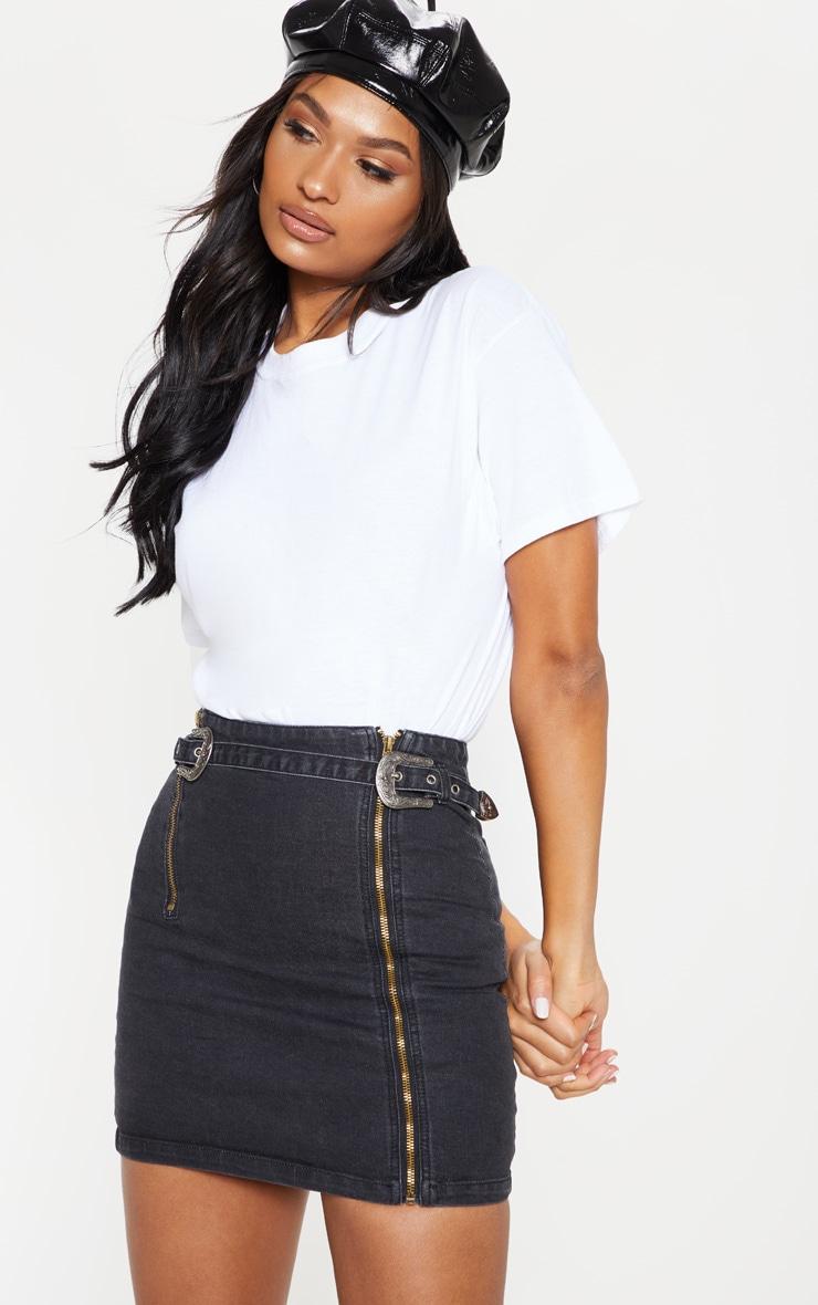 Black Denim Western Belted Mini Skirt 1