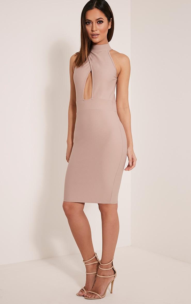 Torie Taupe Keyhole Wrap Midi Dress 4