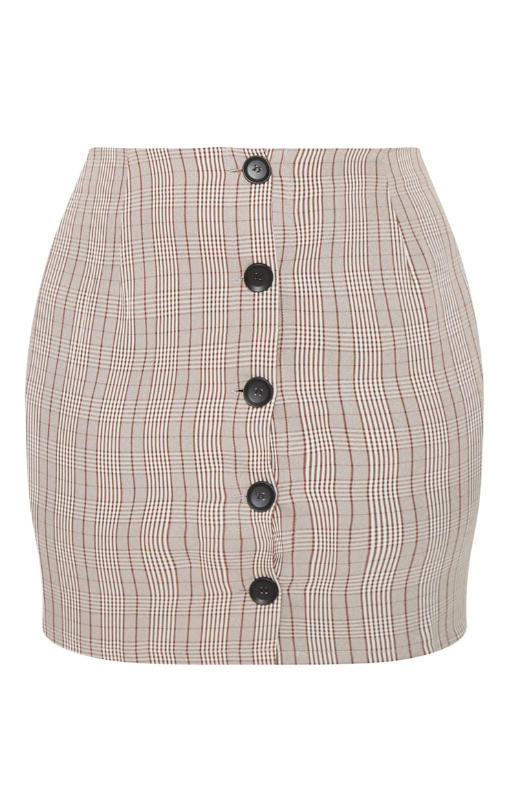 Plus Brown Check Button Up Mini Skirt  3