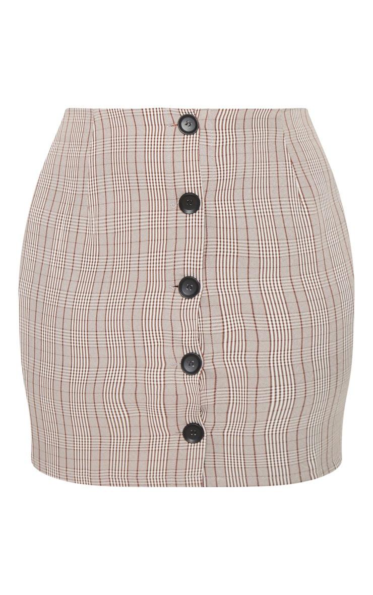 PLT Plus - Mini-jupe marron à carreaux et boutons devant 3