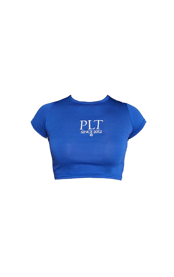 PRETTYLITTLETHING Cobalt Established Slogan Short Sleeve Crop T Shirt 5