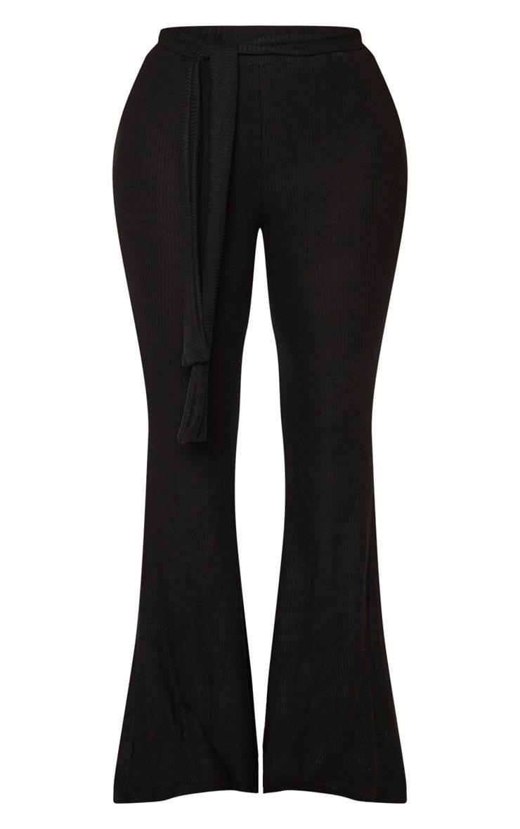 Shape Black Brushed Rib Tie Waist Wide Leg Pants 3