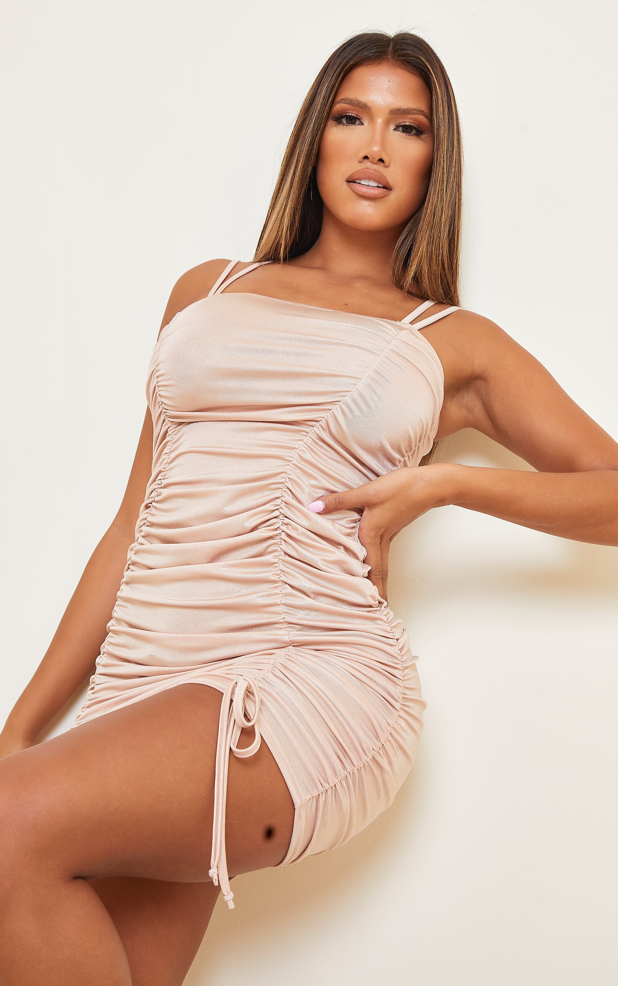 Shape Champagne Metallic Extreme Ruched Strappy Bodycon Dress 1
