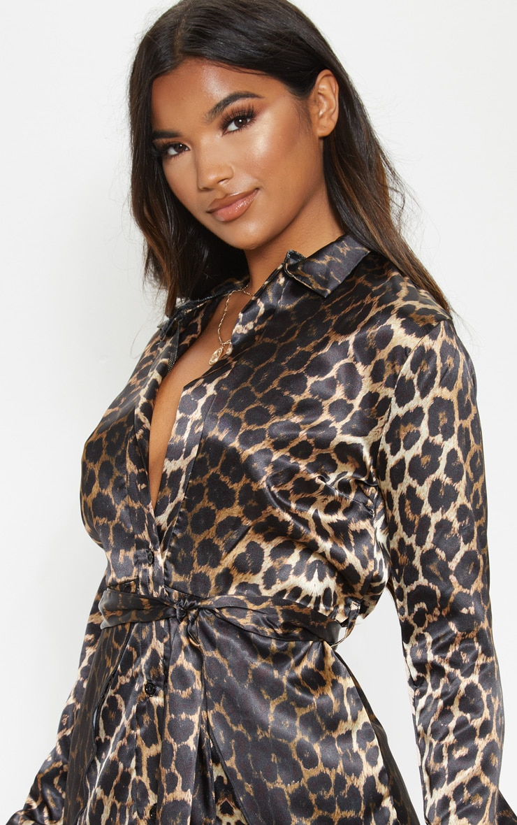 Tan Leopard Print Satin Tie Waist Curve Hem Shirt Dress 5