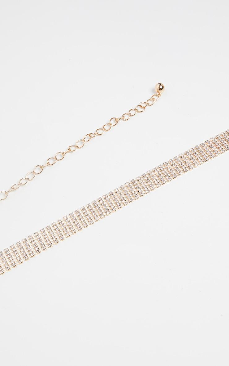 Gold Skinny Diamante Chain Belt 2