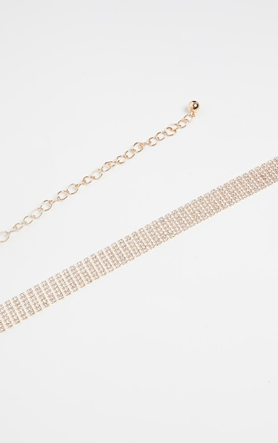 Gold Skinny Diamante Chain Belt