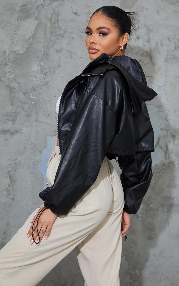 Black PU Hooded Cropped Windbreaker 2