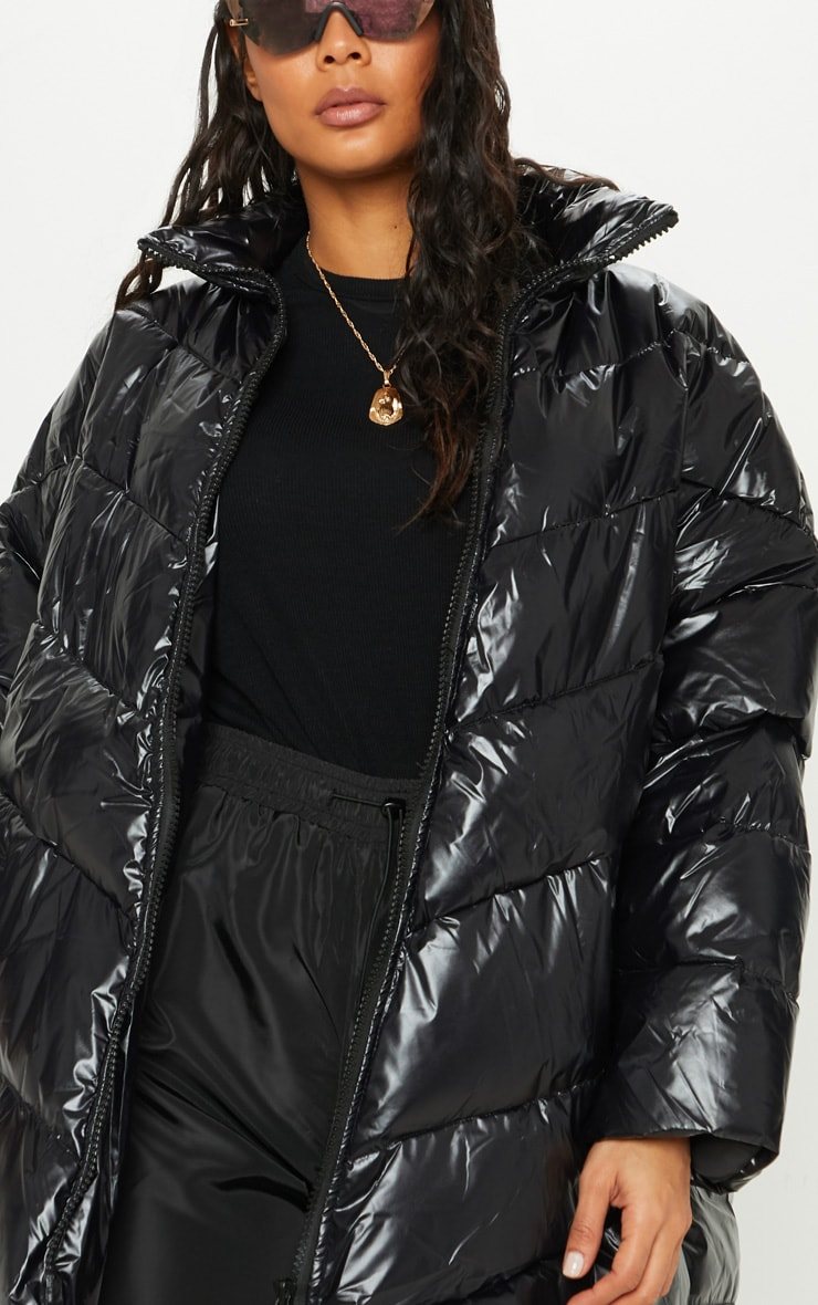 Black  High Shine Oversized Puffer  5