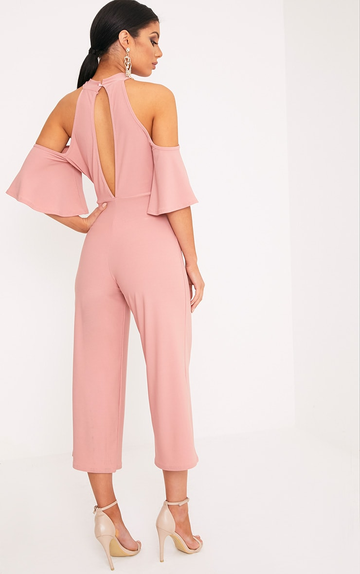 Jaymie Pink Cold Shoulder Cullotte Jumpsuit 2