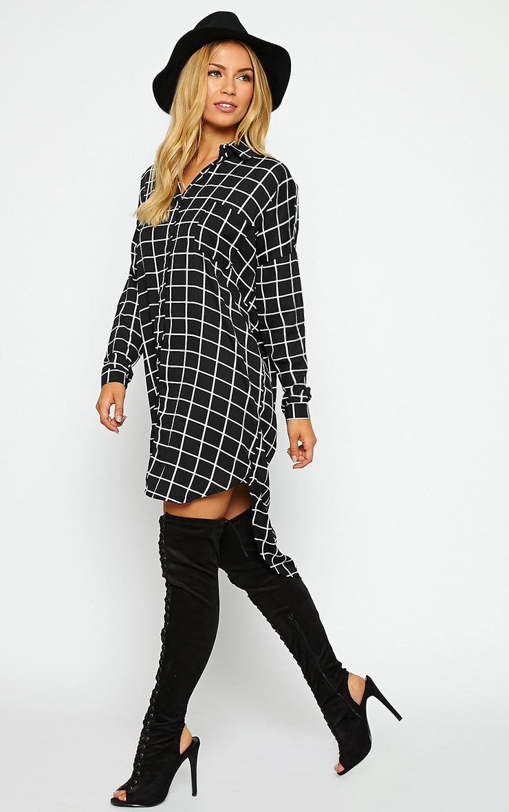 Rhona Black Check Shirt Dress 3