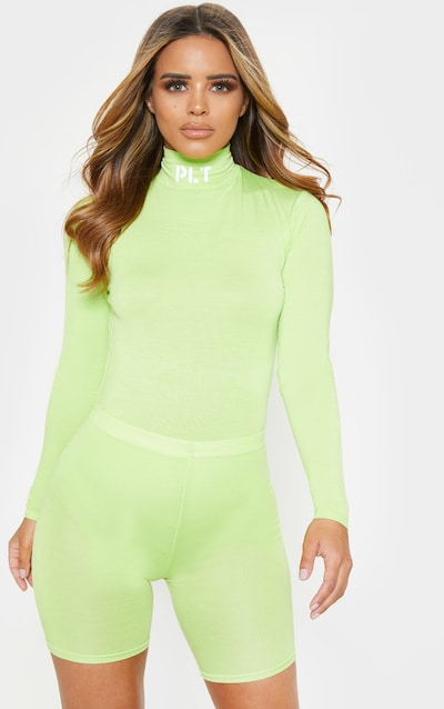 c21868821417a PRETTYLITTLETHING Petite Neon Lime Slogan High Neck Long Sleeve Bodysuit  PrettyLittleThing Sticker