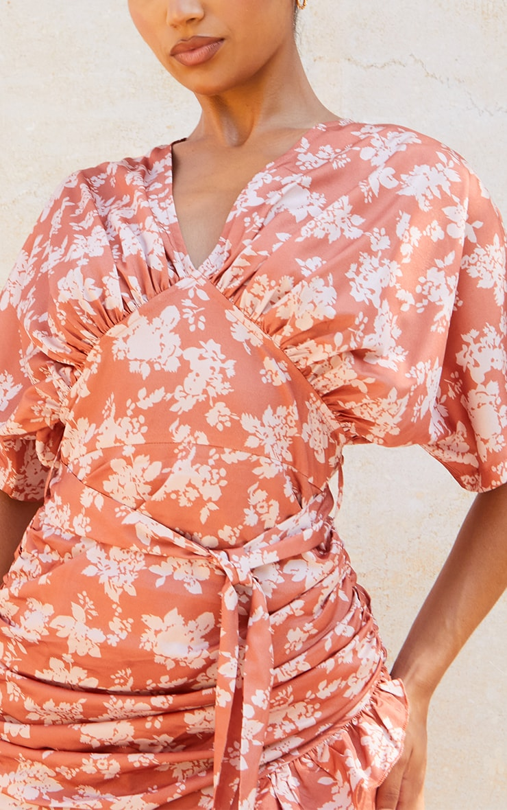 Rust Floral Print Draped Top Ruched Bodycon Dress 4