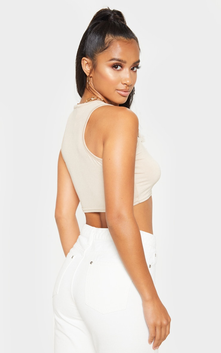 Petite Biscuit Cropped Basic Jersey Racer Vest 2
