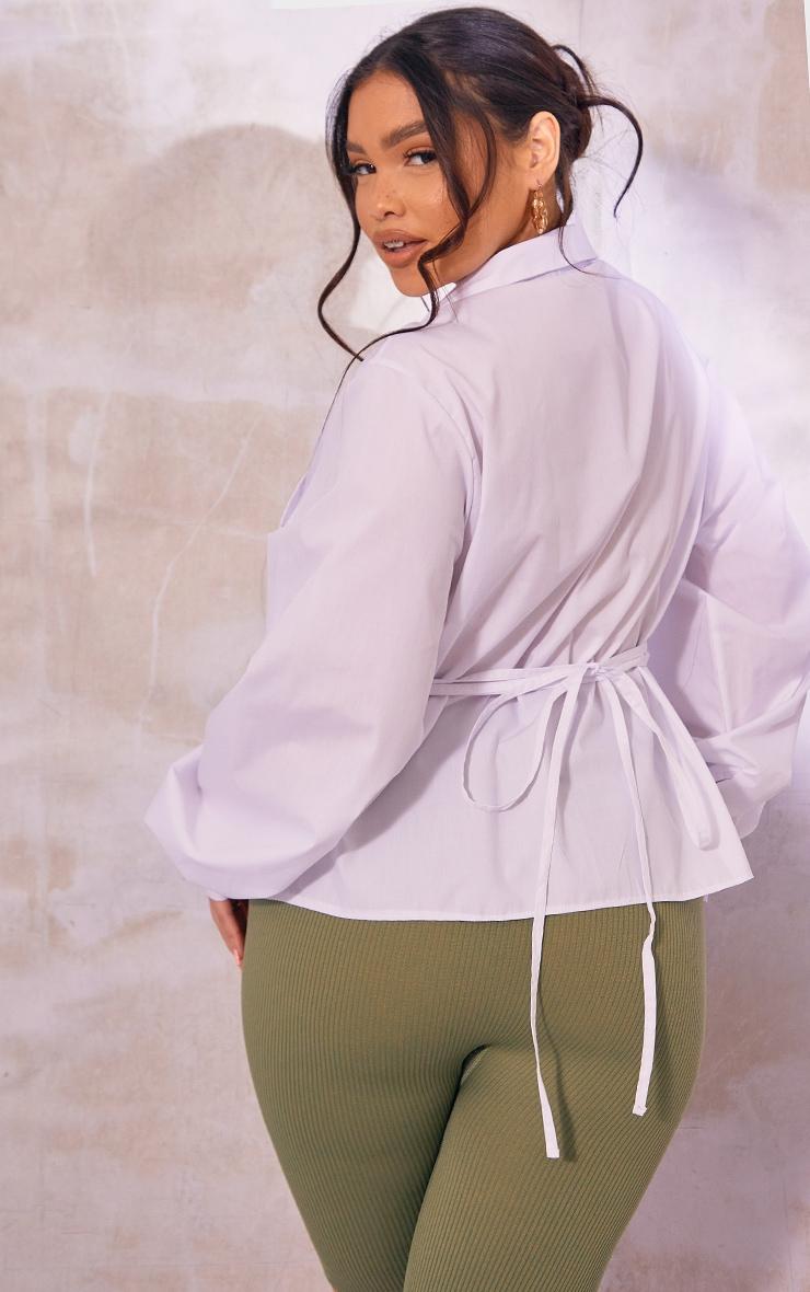 Plus White Layered Wrap Around Shirt 2