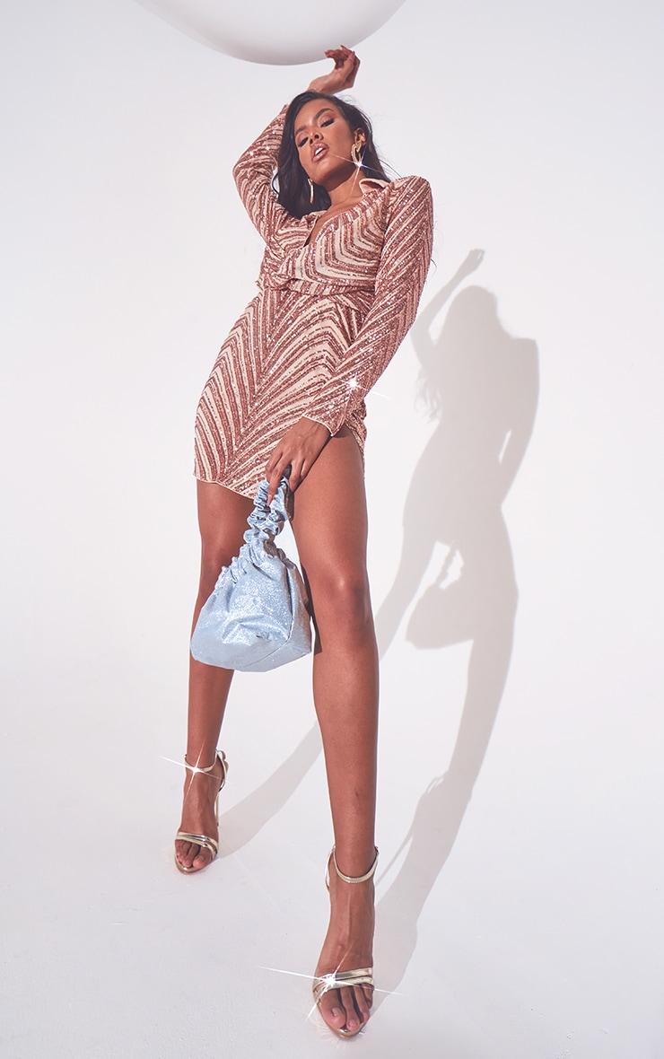 Rose Gold Sequin Embellished Deep Plunge Blazer Style Bodycon Dress 2