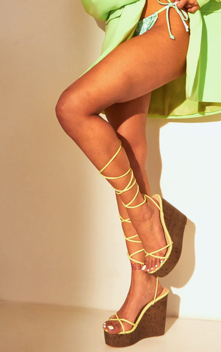 Lime Lace Up Cork Wedge 1