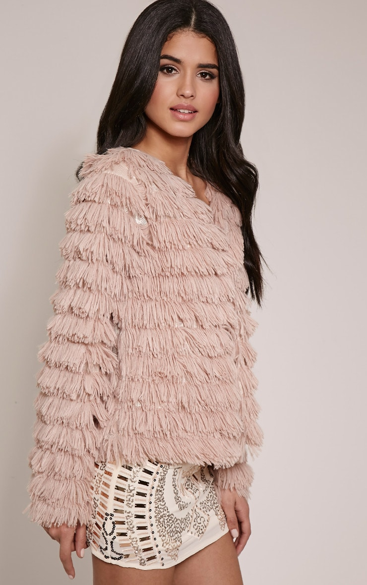 Asara Blush Faux Fur Shaggy Jacket 4
